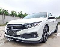 For Honda civic Front bumper lip spoiler PP and carbon fibre Material car resr wing lip spoiler by Primer Color 2016 2019
