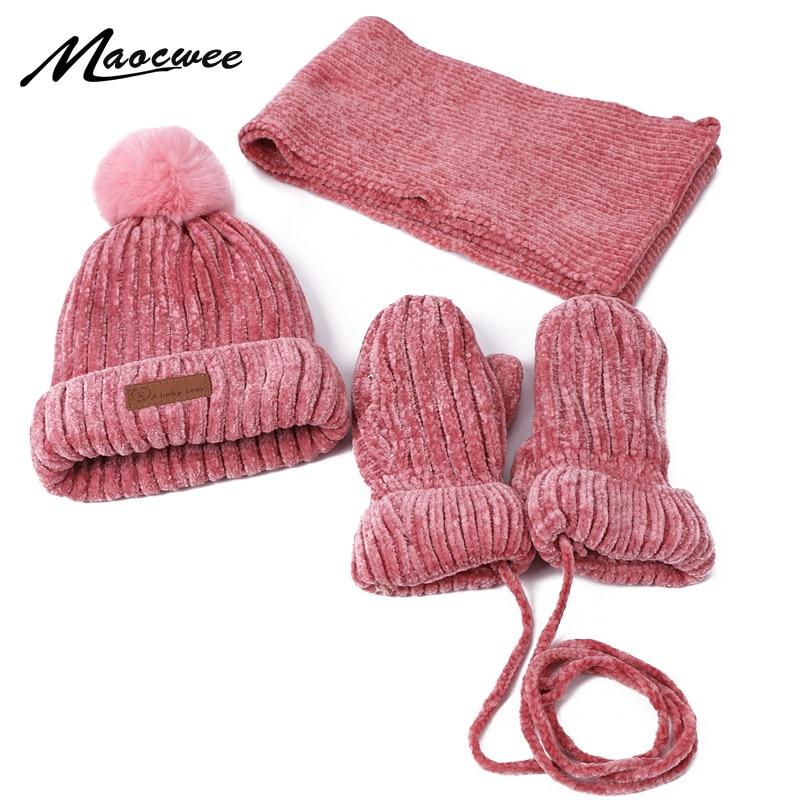Three-piece Hats Scarf Gloves Set Children Hat Winter Warm Mitten PomPon Knitted Hat Autumn Winter Gilr And Boy Cap Fashion Sets