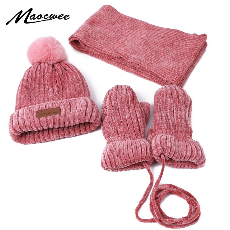 Three-piece Hats Scarf Gloves Women's Hat Winter Warm Mitten PomPon Knitted Knitting Hat Women's Autumn Winter Wool Cap Fashion