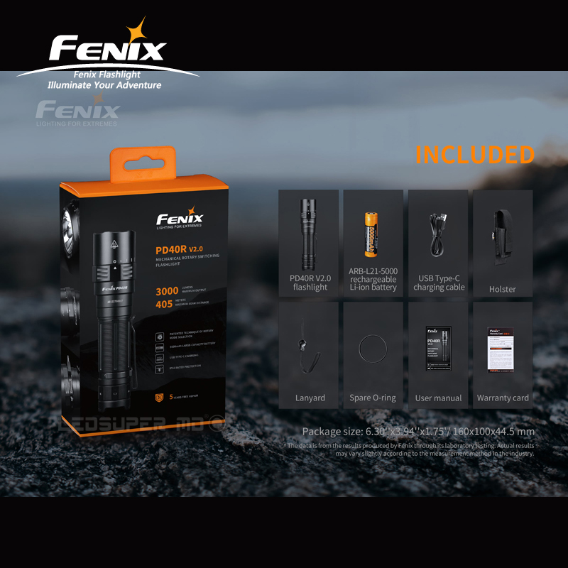 Max 3000 Lumens Fenix PD40R V2.0 Luminus SST 70 LED Mechanical Rotary Switching Portable Flashlight With 5000mAh/ 21700 Battery