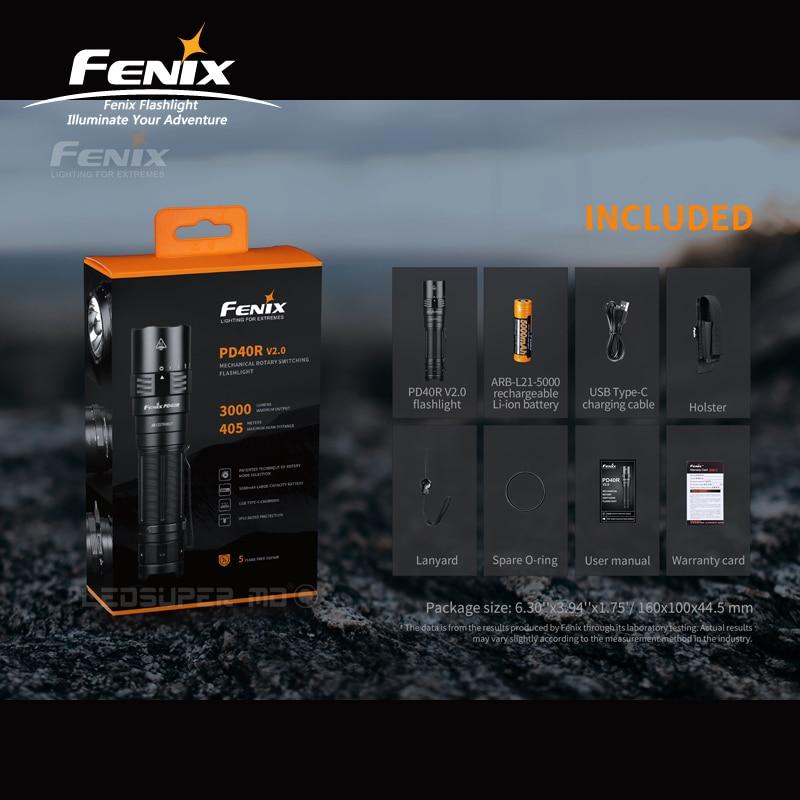 Max 3000 Lumens Fenix PD40R V2.0 Luminus SST 70 LED Mechanical Rotary Switching Portable Flashlight With 5000mAh/ 21700 Battery