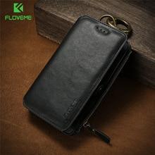 FLOVEME biznes portfel skórzany pokrowiec na iPhone 12 Pro Max 12 Mini 11/11 Pro X XR XS Max 6 6S 7 8 Plus 5 5S SE etui PU torba na telefon