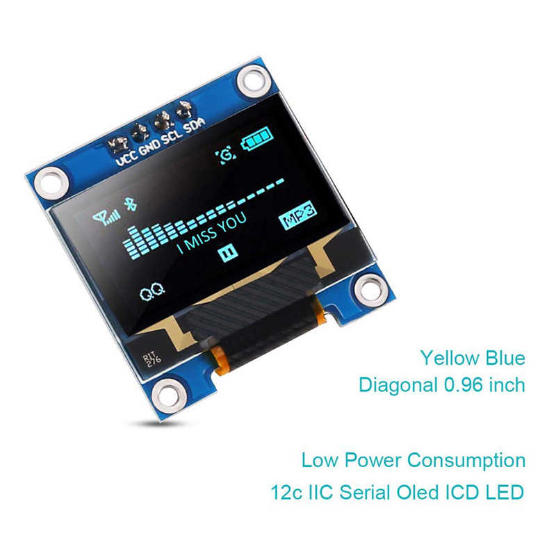 0.96 pouces LCD Module d'affichage IIC série bleu 128X64 I2C SSD1306 12864 LCD écran carte pour Arduino framboise pi 3 écran