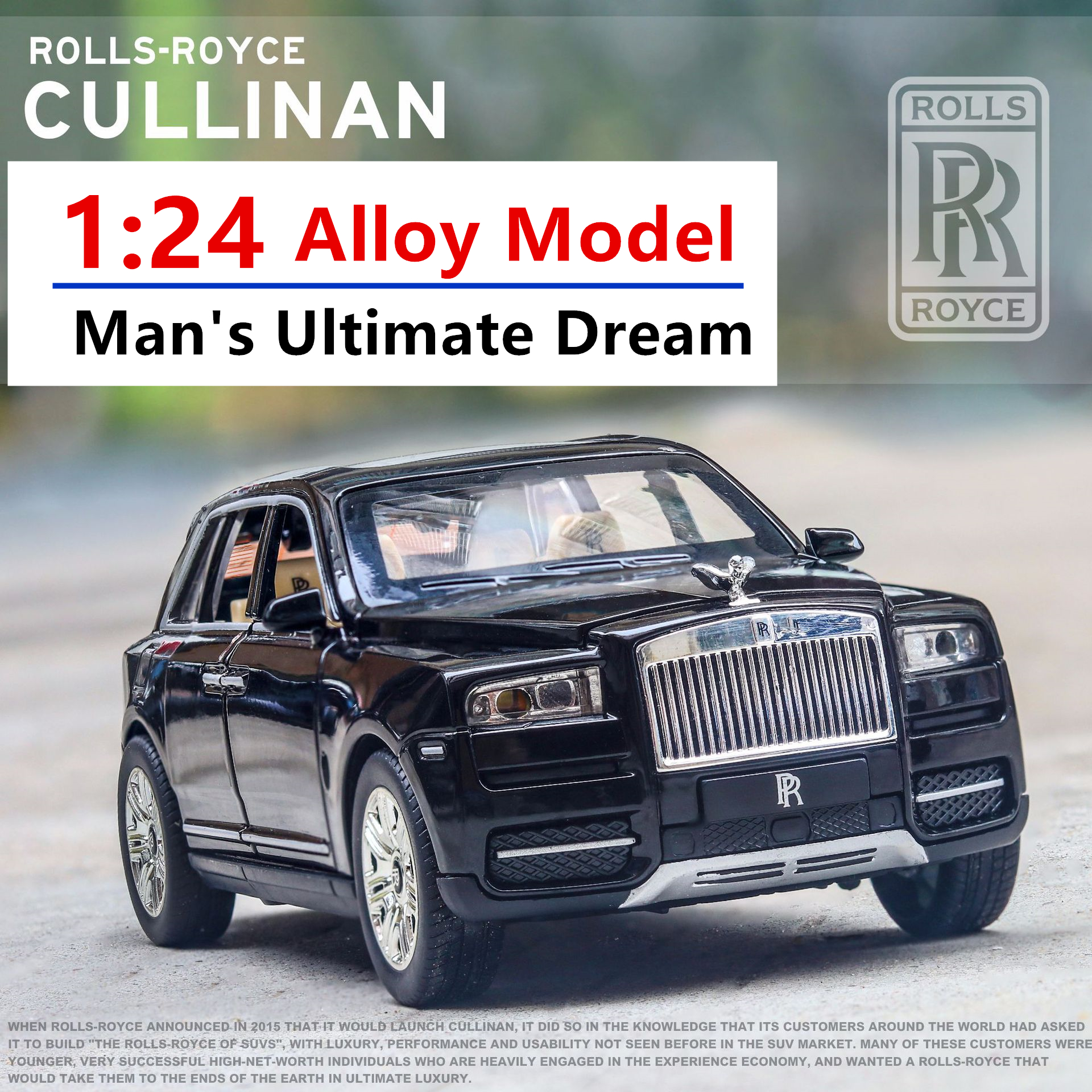 1:24 Cullinan Luxury Off-road Vehicle Model Simulation Car Model Collection Gift Pull-back Vehicle