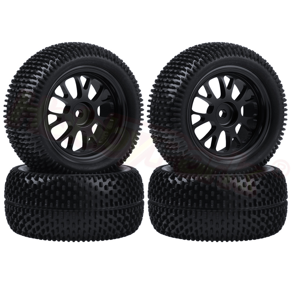 4pcs/Lot 75x33mm Tires & Aluminum Wheels 7mm Hubs For WLtoys A969 A979 A969B A979B Truck 1/18 RC Car Parts Replacements
