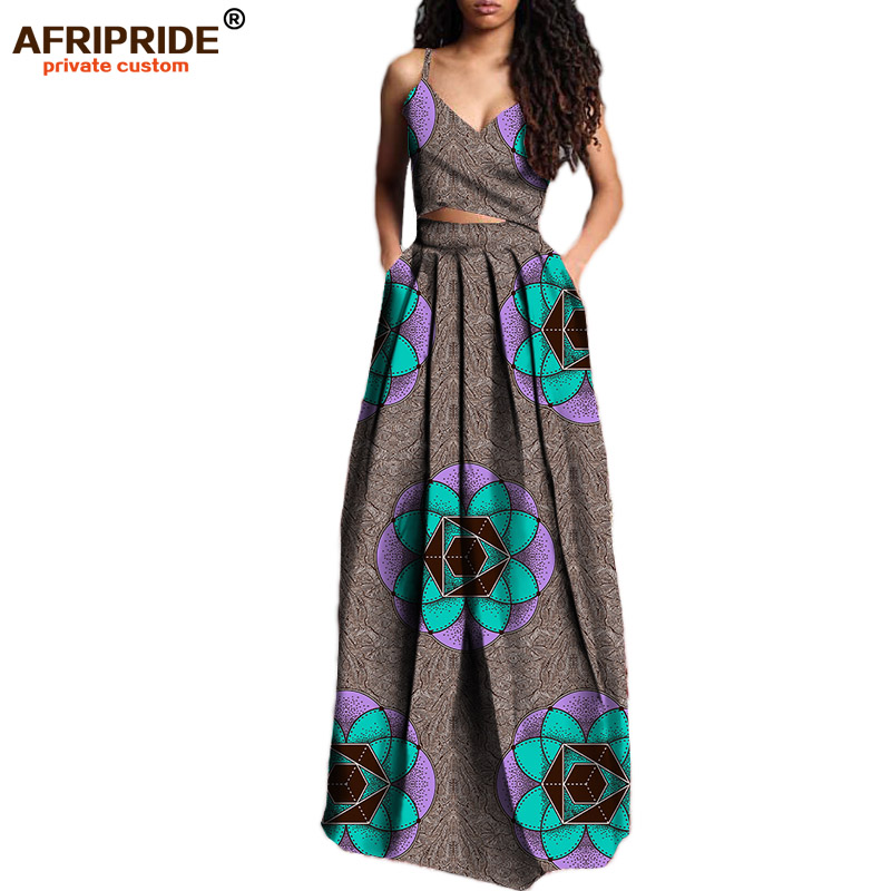 2019 summer suit for women AFRIPRIDE private custom short sleeveless top+long pleated skirt plus size pure wax cotton A722629