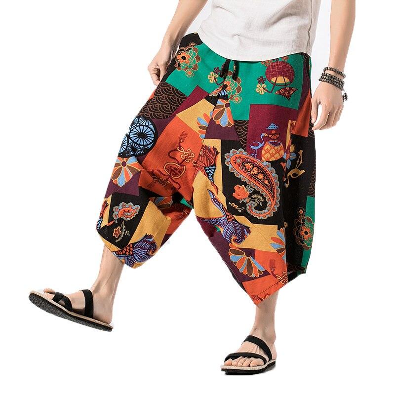 Hot Sale 2020 Summer Linen Harem Pants Men Casual Hip Hop Trousers Drawstring Cross Bloomers Calf-Length Pants Joggers Size 5XL