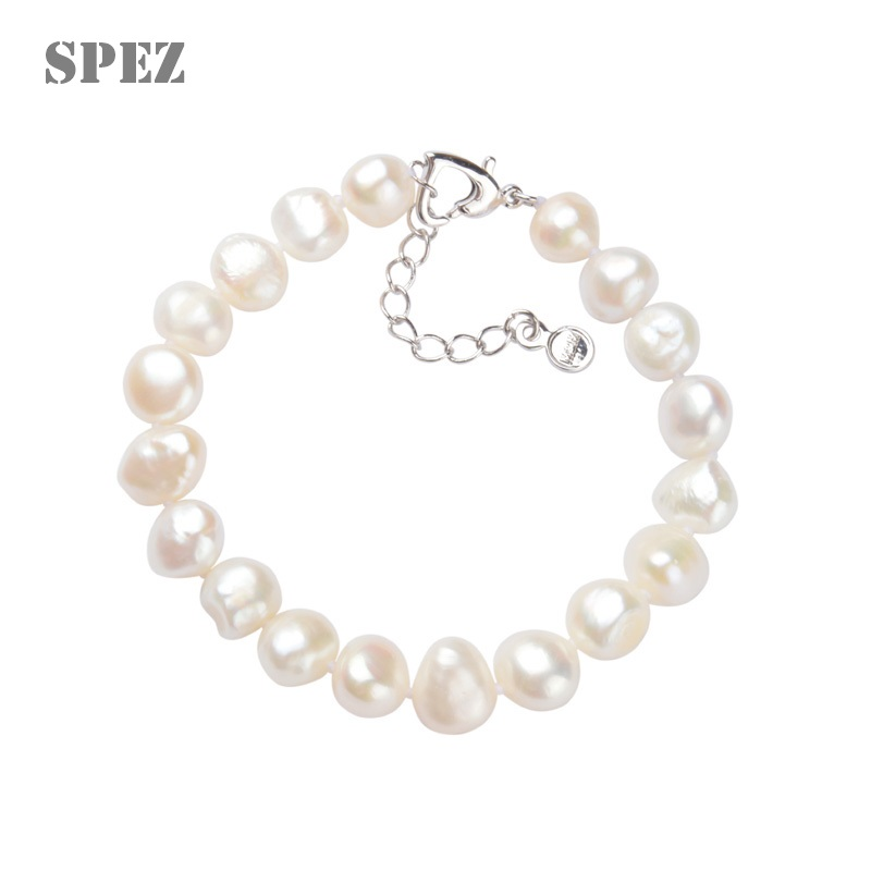 Baroque Pearl Bracelet 100%Natural Freshwater Pearls 7-8mm For Women Simple Style Handmade Wedding Party Jewelry Gift SPEZ