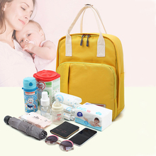 Pure Color Baby Diaper with Handbag Simple and Elegant Milk Powder Clothing Storage Bag Fashion Mommy Backpack
