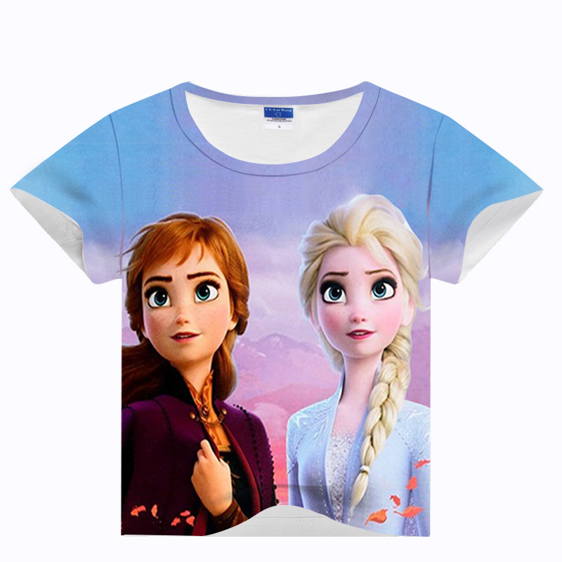 Snow Story Anna Elsa Girls T-Shirts Cotton Unicorn T-Shirt For Boys Toddler Girls Clothes title=