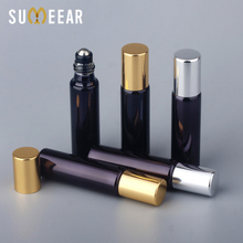 100PCS/Lot 10ml Essential Oil Bottles Refillable Black UV Glass Perfume Bottle With Metal Roll On Empty Essential Oil For Travel