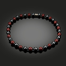 NJ Hematite Necklace With Magnetic Therapy Black Red Health Women Men Jewelry Beads