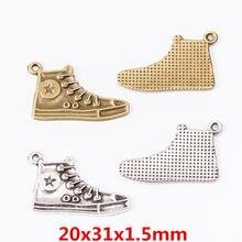 15 pçs encantos sapatos pingente brilhante liga de zinco ajuste pulseira colar diy metal jóias descobertas 6444