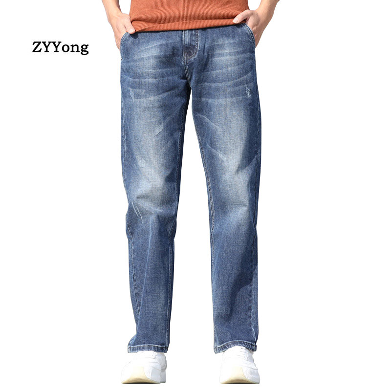 Summer Thin Section Men Jeans Retro Large Size Baggy Washed Denim Trousers Hip Hop Streetwear Wear-Resistant Blue Wide Leg Pants