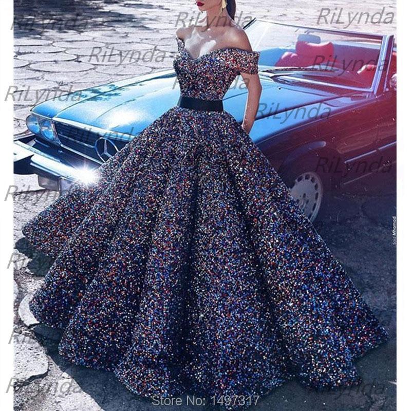 Sequins Long Evening Dresses 2020 Puffy Spaghetti Strap Pockets Evening Gowns Arabic Dubai Women Formal Party Dress