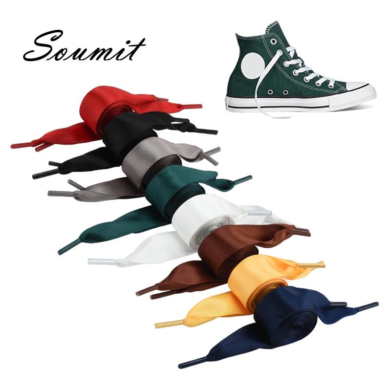 Soumit Candy Colors Shoelaces For Canvas Sneakers Sport Shoes Colorful Satin Ribbon Long Rope Flat Laces Long 120CM Shoelaces