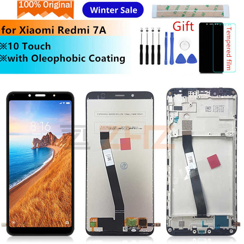 Original para xiaomi redmi 7a lcd tela de toque digitador assembléia com quadro para redmi 7a display substituição peças reparo