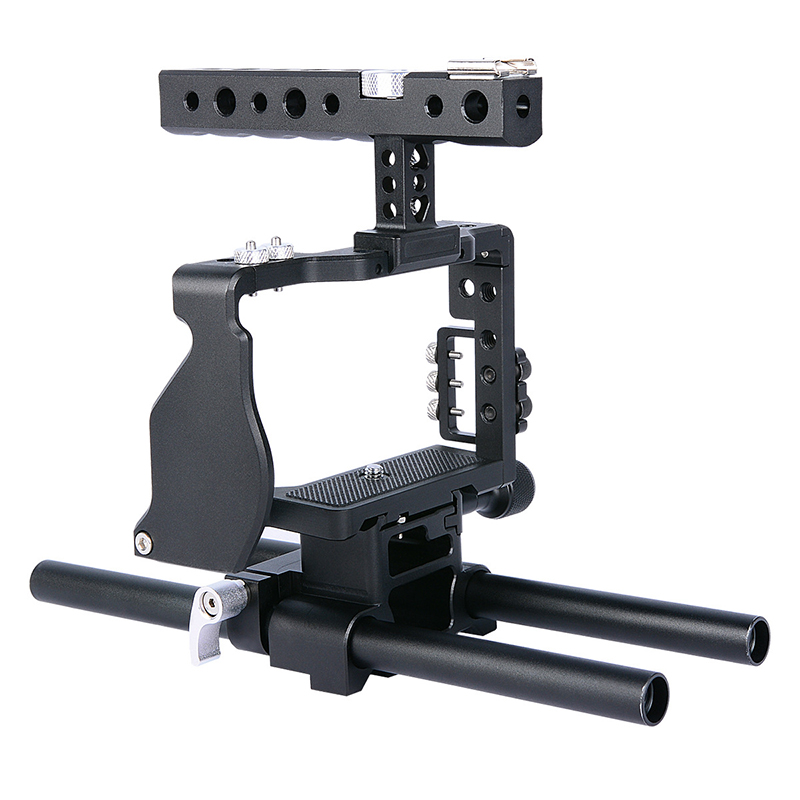 ABKT Yelangu Camera Cage Handle For Sony A6000 A6300 A6500 With Aluminum Alloy Handheld Hand Grip 360° Video Camera Accessories     - title=