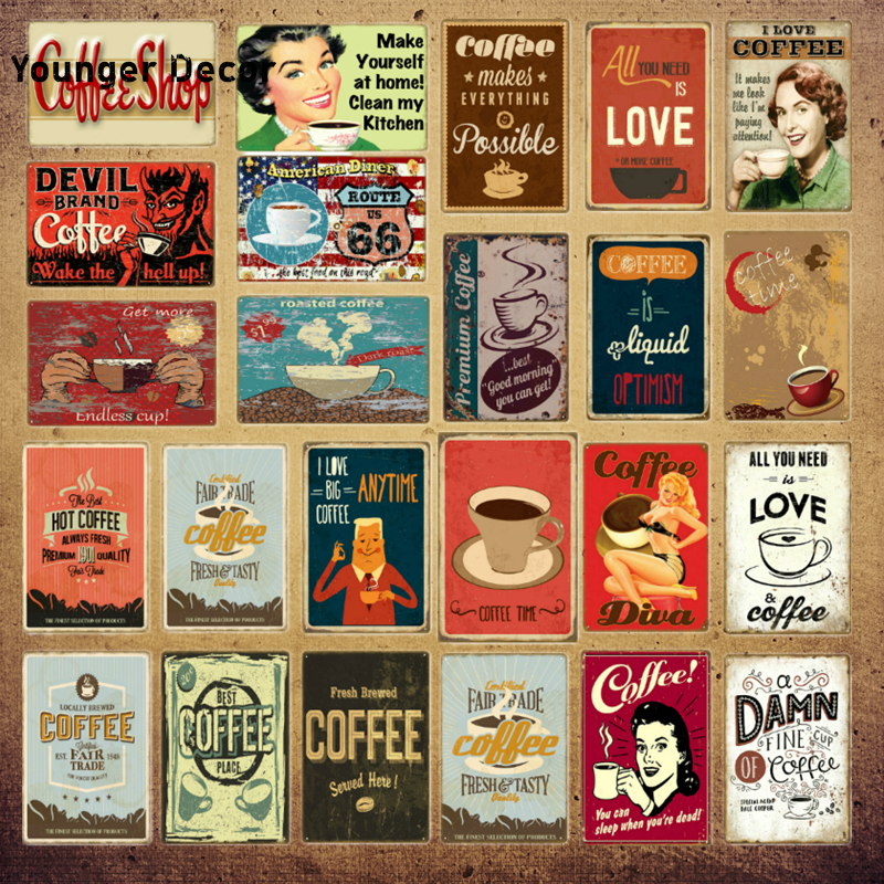 Sweet Coffee Poster Coffee Makes Everything Possible Metal Signs Coffee Shop Wall Plaque Cafe Decor Vintage Plate YI-197(China)