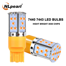 NLpearl 2x Signal Lamp 7440 W21W Led T20 7443 W21/5w LED Bulbs 12V 35SMD 3030 Chip Reverse Backup Turn Signal Light White Yellow