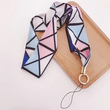 Lanyard fashion womens scarves tie mobile phone lanyard floral diamond buckle key ring strap neckband