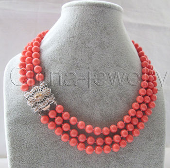 """30% OFF Wholesale price 16new AAA 3row 17-19 """" 8mm perfect round pink coral necklace - white gild zircon clasp BB1025"""