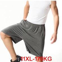 Мужские шорты большого размера плюс 9XL 10XL 11XL, летние мягкие удобные темно-синие свободные шорты из модала и хлопка с эластичной резинкой на т...
