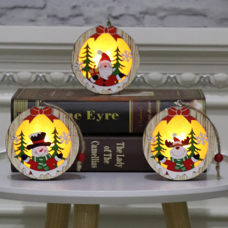 Christmas Tree Ornament Wooden Glowing Classic Scene LED Lights Pendant Gift 2019 Christmas Decoration in Party DIY Decorations from Home Garden