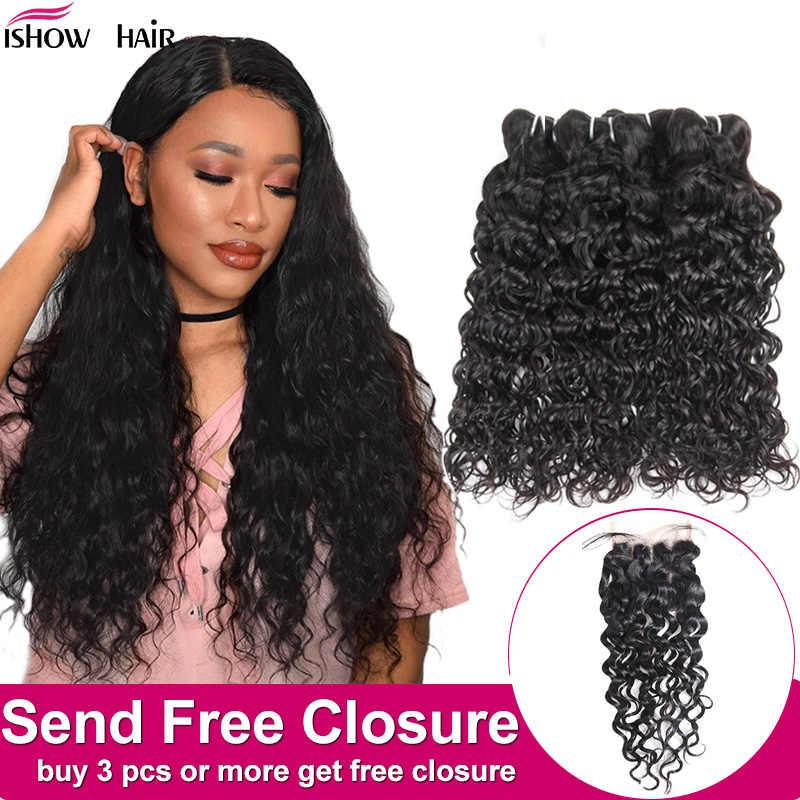 Ishow индийские человеческие волосы, водная волна, пряди, купить 3 или 4 шт., человеческие волосы, пряди, получить бесплатное закрытие, натуральный цвет, волосы, Переплетенные пряди