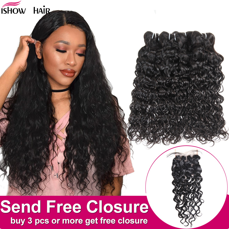 Ishow Indian Human Hair Water Wave Bundles Buy 3 Or 4pcs Human Hair Bundles Get Free Closure Natural Color Hair Weave Bundles