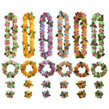 Bracelet-Set Necklace Hawaiian-Garland Dress Wreath Delicate-Flowers Party Artificial