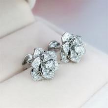 Elegant Flower Real 925 sterling silver Earrring Pave AAAAA Cz Engagement Wedding Stud Earrings for