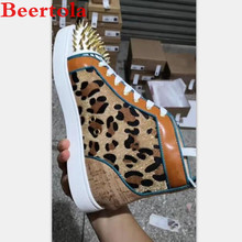 Casual Shoes Spikes Rhinestones Men's Sneakers Leopard-Pattern Luxury High-Top Male Brand