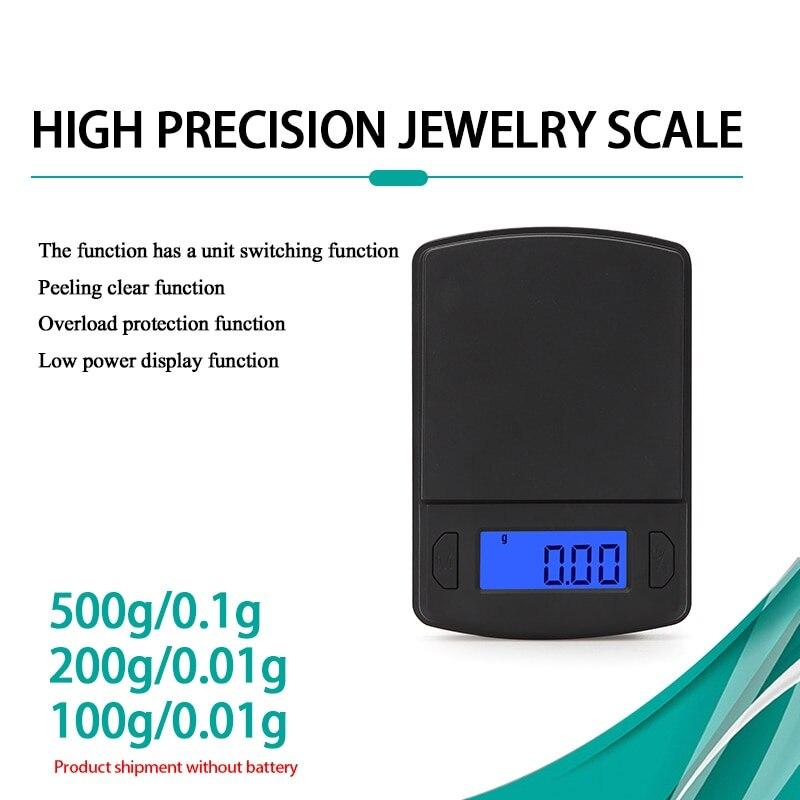Весы для ювелирных изделий, цифровые высокоточные мини-весы с ЖК-дисплеем, 100/200/500/0,01/0,1 г