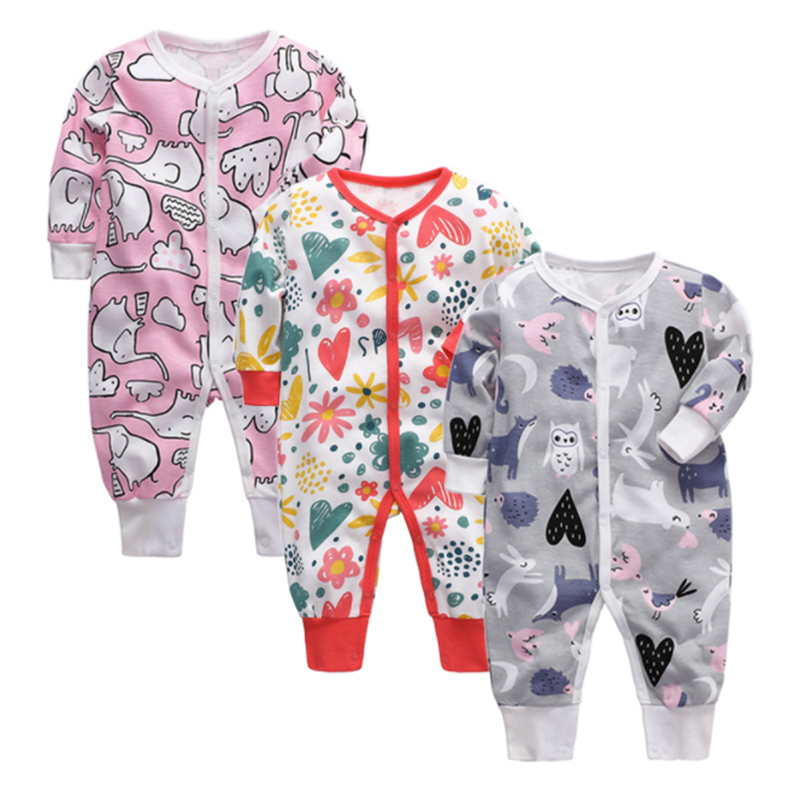 Girl Rompers Outfits Overalls Kids Jumpsuit Long-Sleeve Newborn-Baby Infant Cartoon-Print