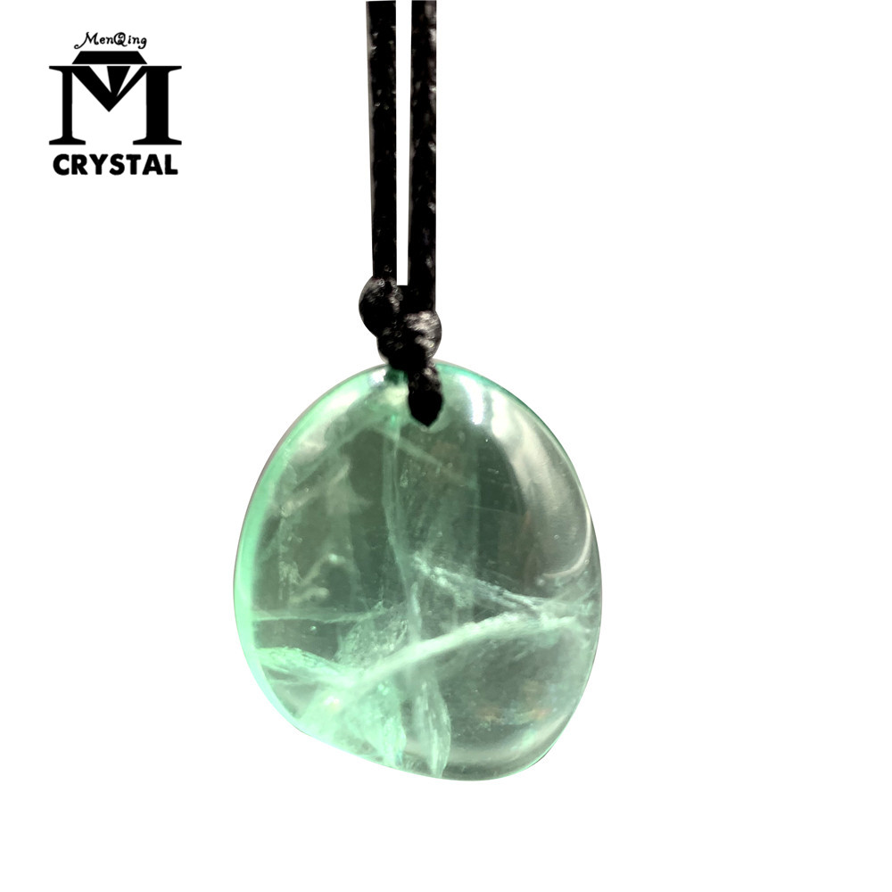 Natural green fluorite Crystal Stone Rock Pendant rough Gravel Tumbled Bulk Quartz Healing Reiki natural gemstone Necklace