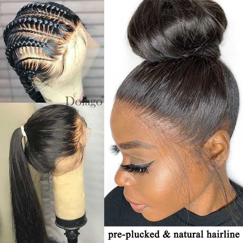 Straight Glueless Full Lace Human Hair Wigs 250 Density HD Transparent Fake Scalp Swiss Pre Plucked With Baby Hair Dolago Remy