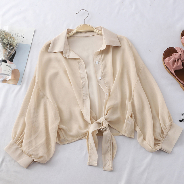 Shirts Women Half Sleeve Button Up Chiffon Blouses 5