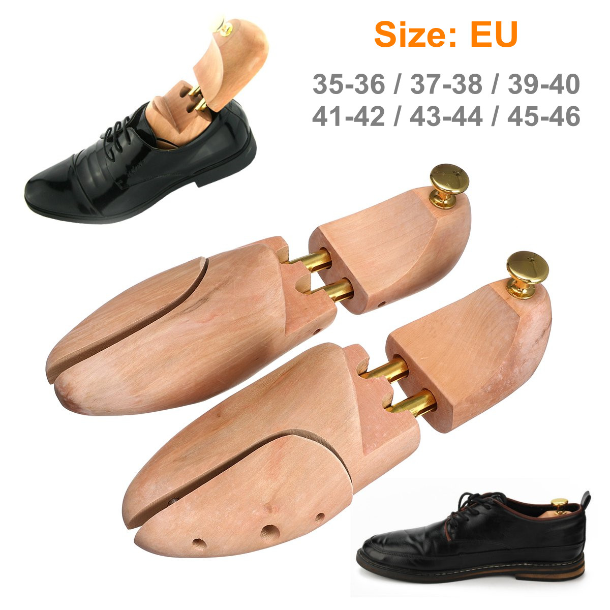 1 Pair High Quality Adjustable Wood Shoe Trees Wooden Shoes Tree Stretcher Shaper Keeper Anti-wrinkle EU 35-46/US 5-12/UK 3-11.5