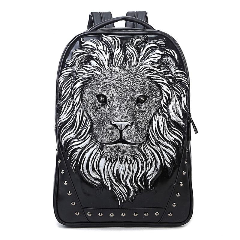 Personality Lion Head Studded Rivet Backpack Halloween Costume Bag Travel Punk Rock Backpack Laptop School Summer Bag 2019