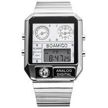BOAMIGO แบรนด์หรูผู้ชายกีฬานาฬิกาผู้ชายดิจิตอล LED นาฬิกานาฬิกาข้อมือควอตซ์กันน้ำ relogio masculino