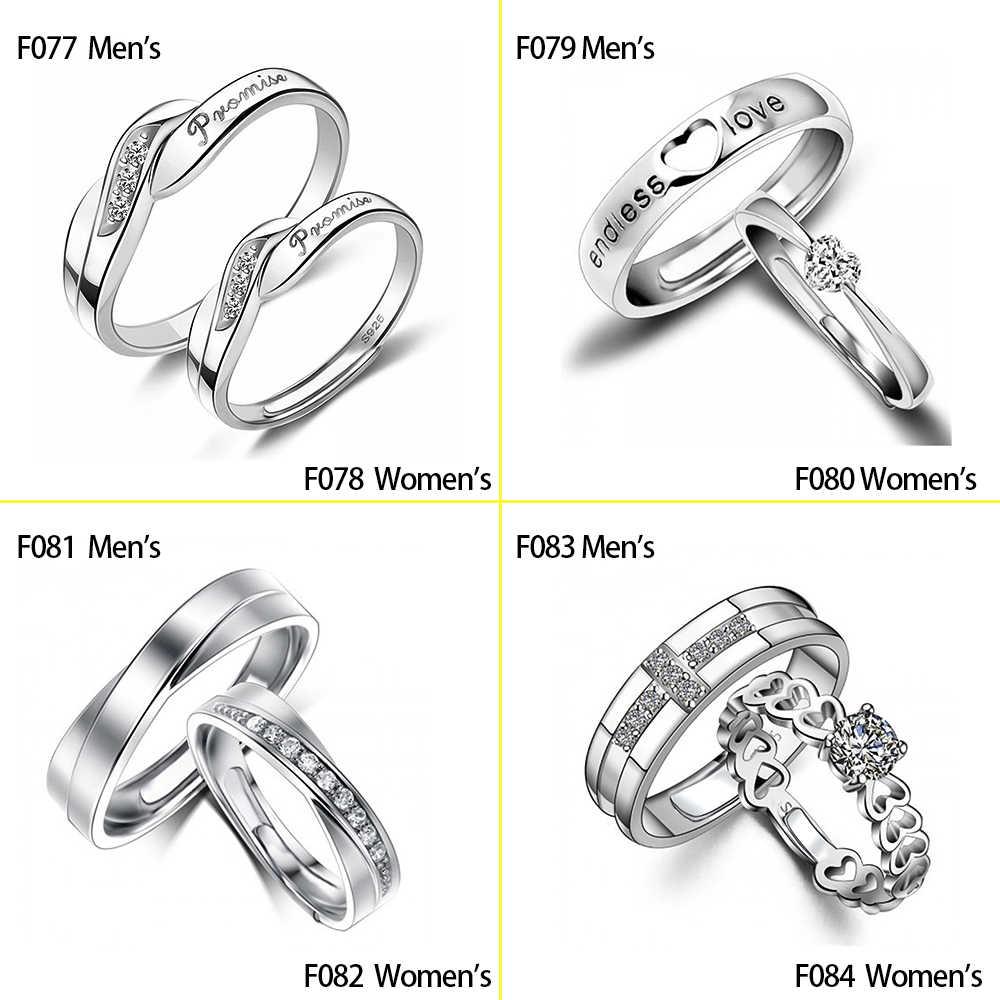 Huitan טרנדי זוג אהבת התחייבות אסימון טבעת סטים עם מכתב שלו מלכת & שלה מלך חקוק חתונה טבעת לנשים & גברים אצבע טבעות