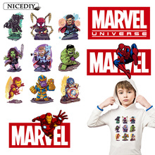 Nicediy Movie Patch Iron on Patches for Clothes Marvel Heat Transfer Vinyl Sticker The Avengers Thermal Press Applique