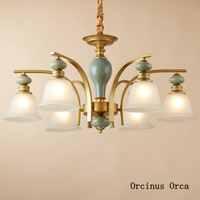 European luxury copper chandelier living room dining room bedroom American retro led ceramic Chandelier