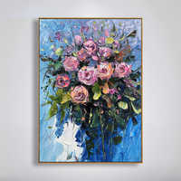 100% Handpainted Modern Abstract Rose Oil Painting On Canvas Art Gift Home Decoration Living Room Wall Art Frameless Picture