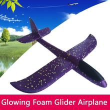 48cm LED Light-up Toy Aircraft Kids DIY Hand Throw Flying Glider Plane Glow In The Dark Toys for Children Foam Model