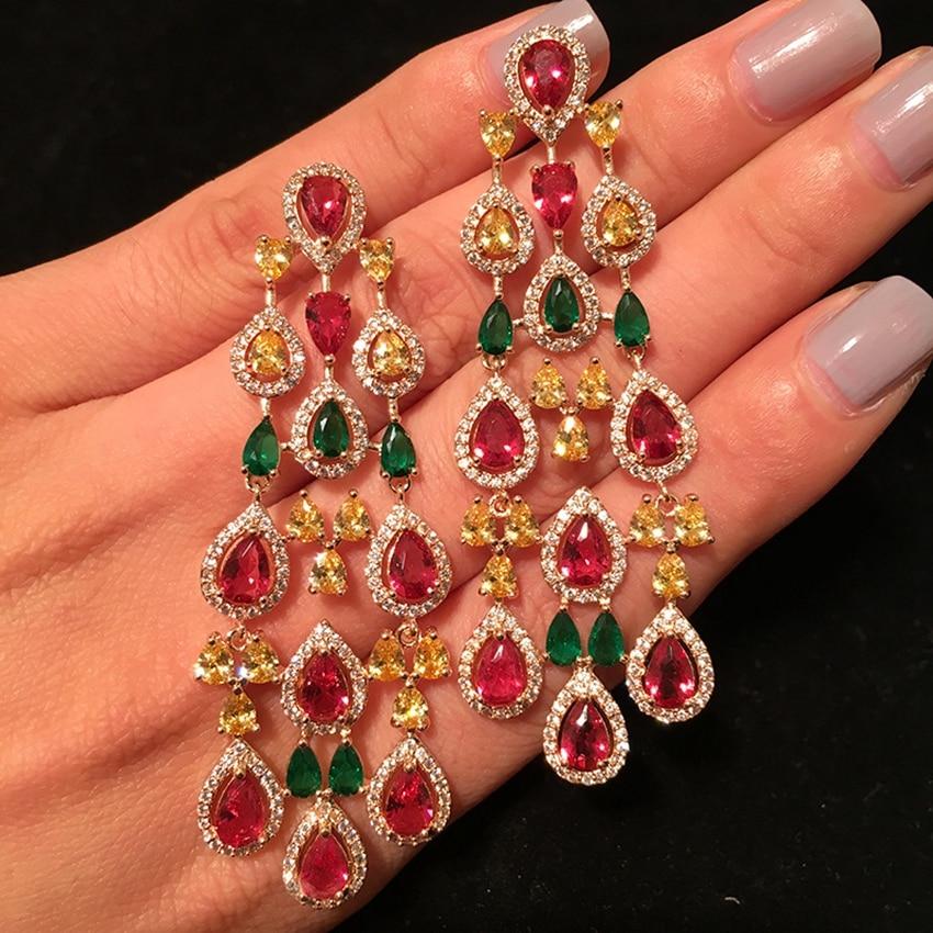 Inde mariée couleur or plein Pave goutte d'eau Zircon Long Dangle boucles d'oreilles pour les femmes mode mariage bijoux boucles d'oreilles - 5