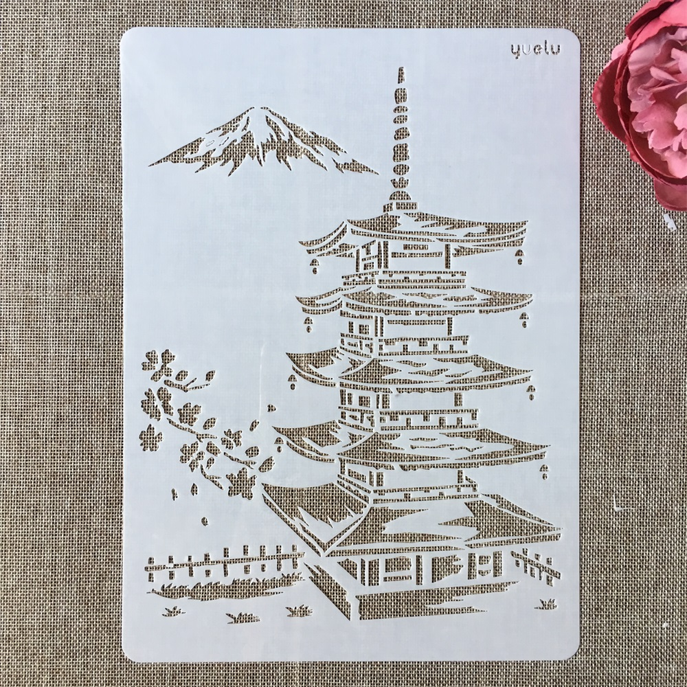 A4 29cm Asia Ancient Tower DIY Layering Stencils Wall Painting Scrapbook Coloring Embossing Album Decorative Template