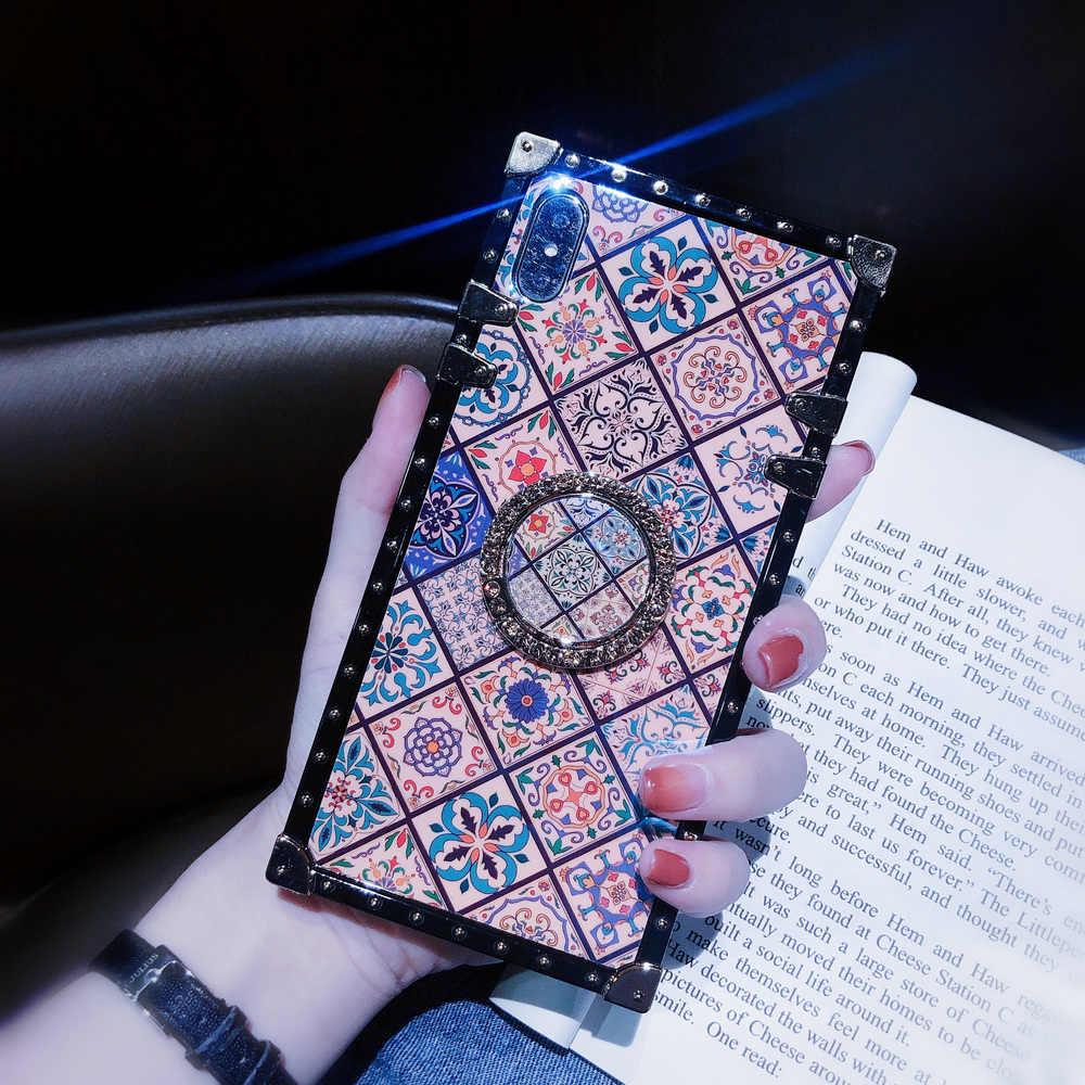 כיסוי עבור iPhone 11 פרו מקסימום מקרה כיכר כחול סיני Ray יהלומי טבעת Stand Girly Coque עבור iPhone X XR XS מקסימום 6s 7 8 בתוספת מקרה