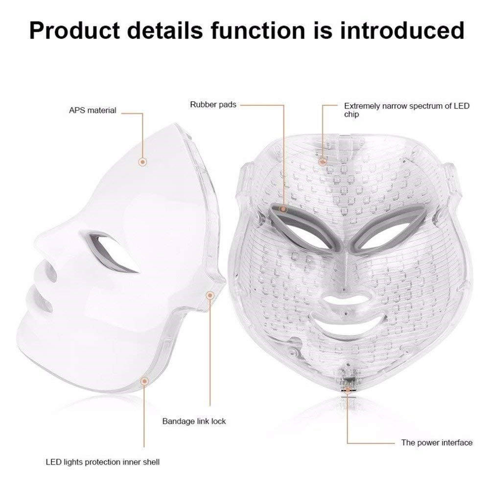 Led máscara facial 7 cores led coreano